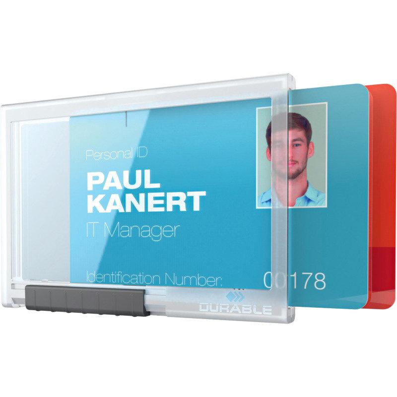 Durable Card Holder Pushbox Duo Transparent 10Pk