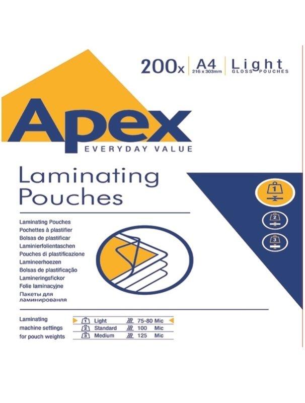 Fellowes Apex A4 Laminating Pouch Light Duty 200PK