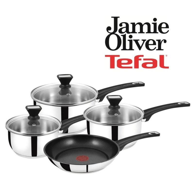 Tefal Jamie Oliver 4pc Non Stick Stainless Steel Pan Set