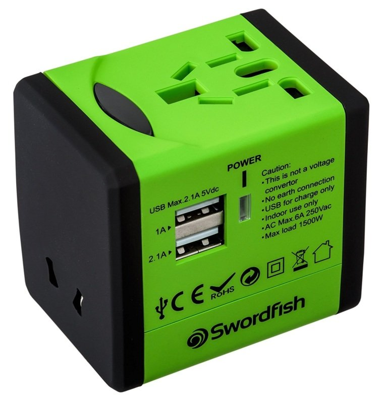 Swordfish Variplug Dual USB Universal Travel Adapter Green