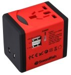 Swordfish Variplug Dual Usb Universal Travel Adapter Red
