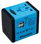 Swordfish Variplug Dual USB Universal Travel Adapter Blue