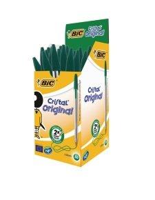 Bic Cristal Medium Ballpoint Green Pen (Pack of 50)