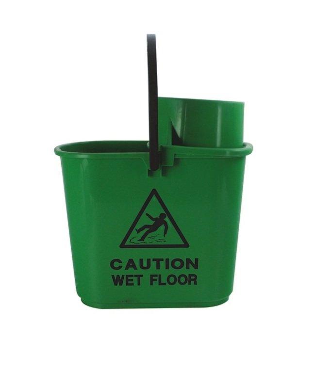 2Work Green Plastic Mop Bucket with Wringer 15 Litre