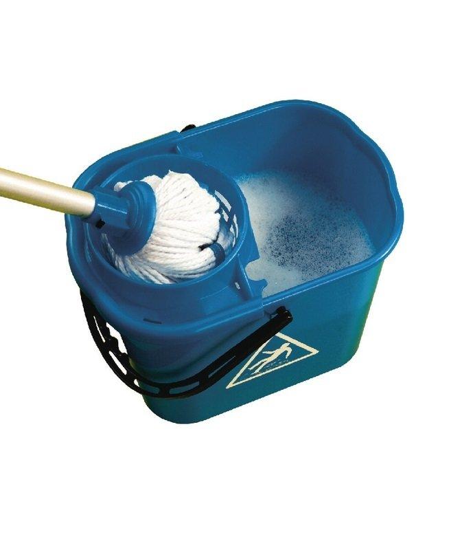 2Work Blue Plastic Mop Bucket with Wringer 15 Litre