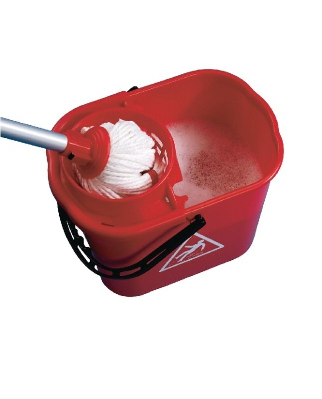 2Work Red Plastic Mop Bucket with Wringer 15 Litre