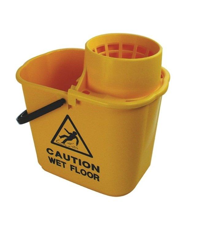 2Work Yellow Plastic Mop Bucket with Wringer 15 Litre