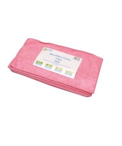 2Work Red 400x400mm Microfibre Cloth Pack of 10