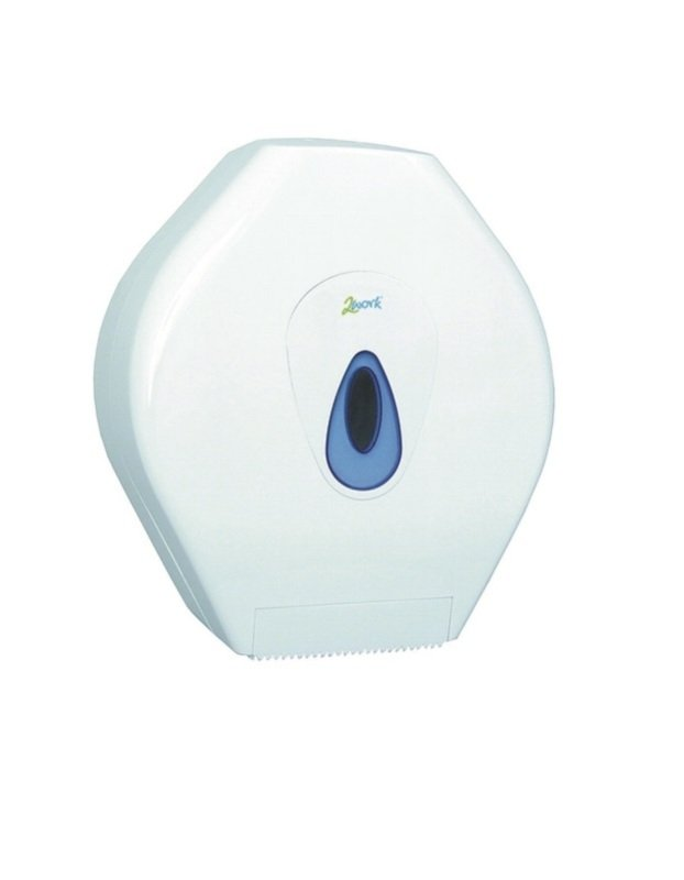 2Work White Mini Jumbo Toilet Roll Dispenser