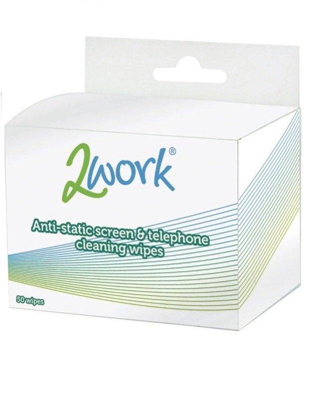 2Work Anti-Static Screen and Telephone Wipes (Pack of 50)