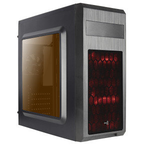 Aerocool SI5101 Advance Mid Tower Case Black 2 x Red LED Front 1 x Rear Black
