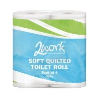 2Work Luxury White 2-Ply Quilted Toilet Roll 10 (Packs of 4)