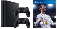 Sony PS4 500GB Black with Fifa 18 + 2 x PS4 Controllers