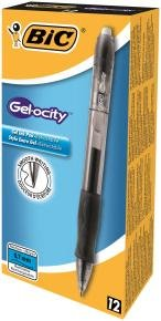 Bic Velocity Gel Black Black - 12 Pack