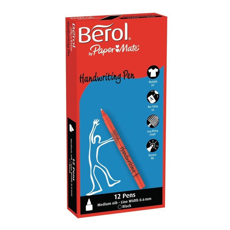 Berol Handwriting Black Pen (Pack of 12)