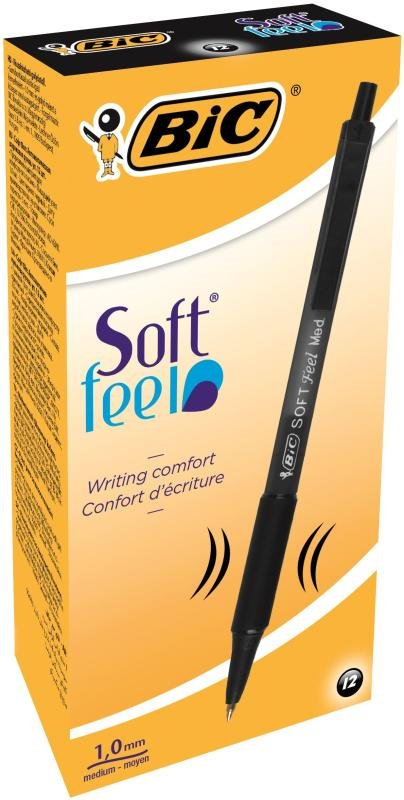 Bic Softfeel Clic Retractable Black Pens (12 Pack)
