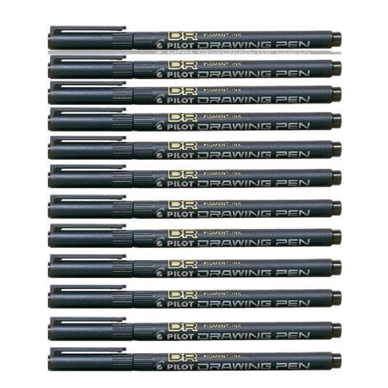 Pilot Black Drawing Pen 0.2 Tip (Pack of 12)