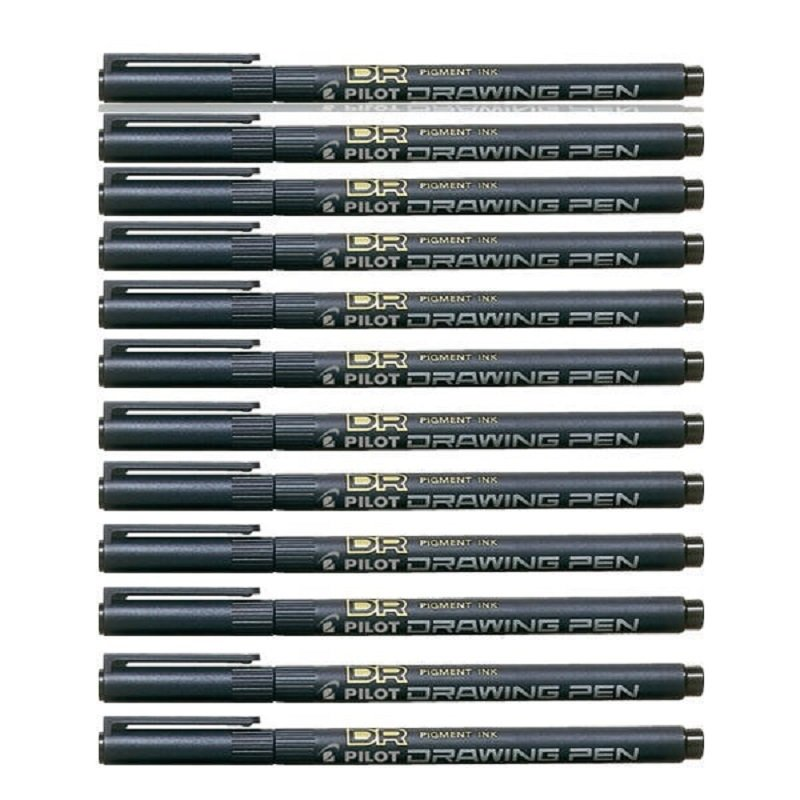 Pilot Black Drawing Pen 03 Tip (Pack of 12)
