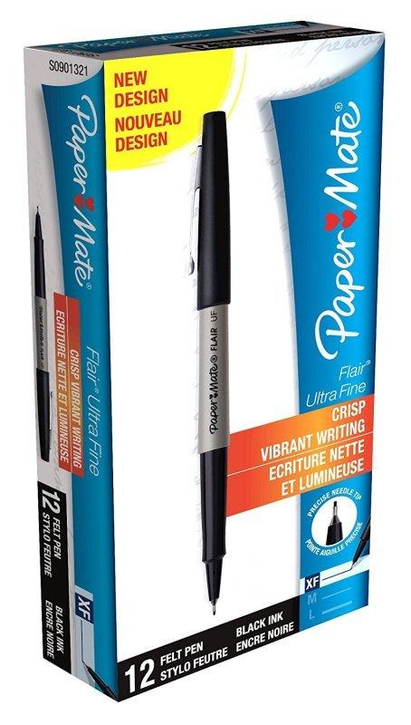 Paper Mate Flair Ultra Fine Pen Black (Pack of 12)