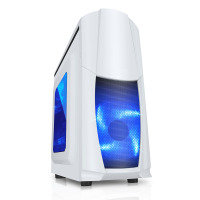 EXDISPLAY CIT Dragon Midi White Case With 12cm Blue LED Fans & Side Window