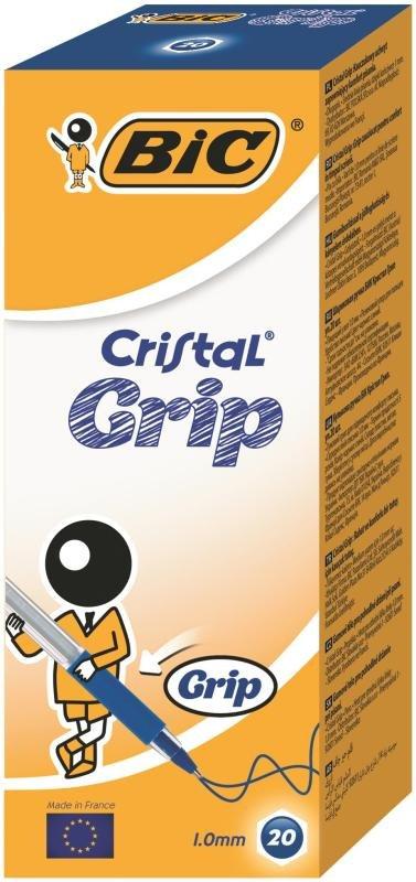 Bic Cristal Grip Ball Pen - Blue  (20 Pack)