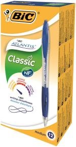 Bic Atlantis Retractable Ballpoint Blue Pen (Pack of 12)
