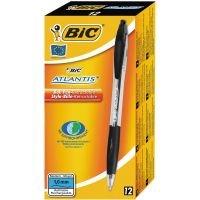 Bic Atlantis Ballpoint Pen- Black (Pack of 12)