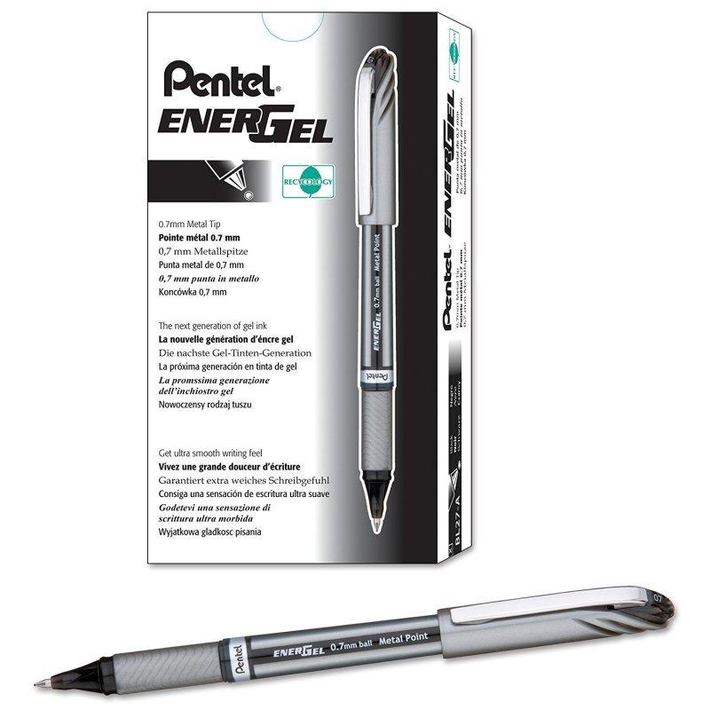 Pentel EnerGel Plus Rollerball Pen Black (Pack of 12)