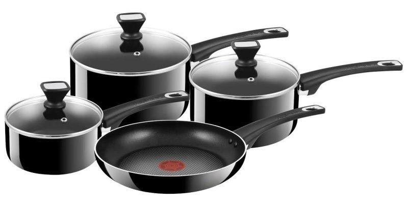 Tefal Jamie Oliver Hard Enamel 4 Piece Pan Set - Black