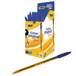 Bic Cristal Fine Ballpoint Blue Pen (Pack of 50)