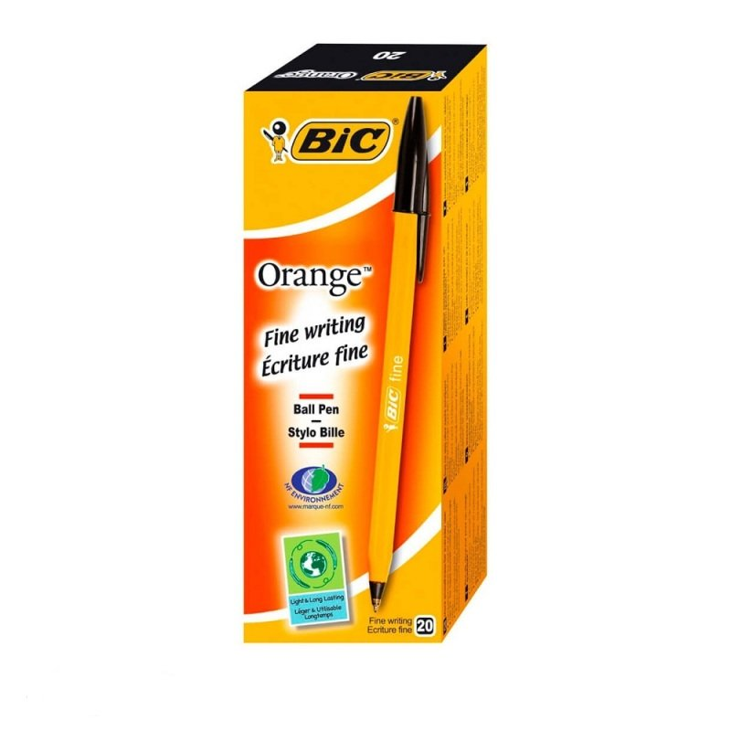 Bic Orange Fine Black Ink Ballpoint Pen (20 Pack)