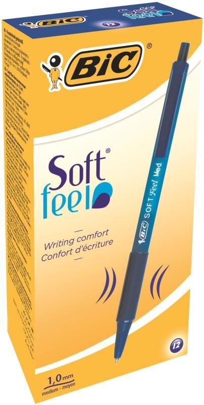 Bic Soft Feel  Ballpoint Blue Pen (Pack of 12)