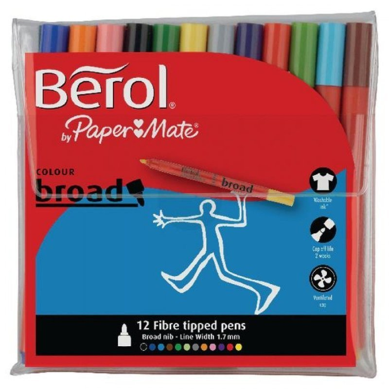 Image of Berol ColourBroad Assorted Colours Pens - 12 Pack