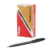Pentel Sign Pen Fibre Tip Black (Pack of 12)