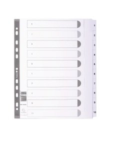 Dividers Mylar A4 Maxi White 1-10