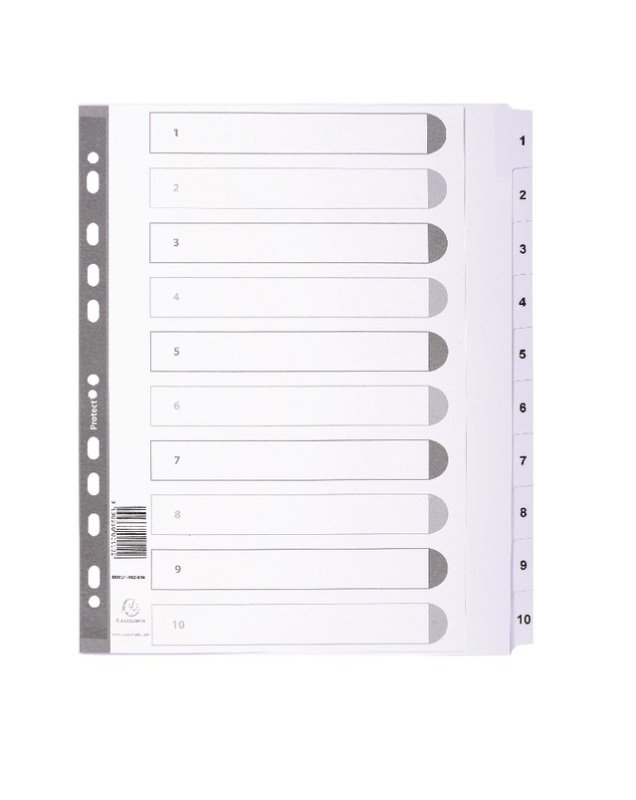 Image of Dividers Mylar A4 Maxi White 1-10 MWD1-10Z-EW