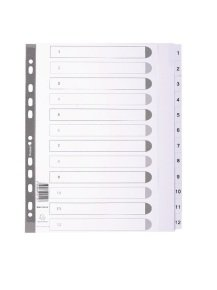 Guildhall (A4+) 12 Part (1-12) Printed Mylar Dividers (White)