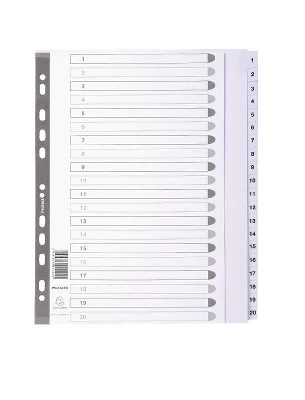 Dividers Mylar A4 Maxi White 1-20