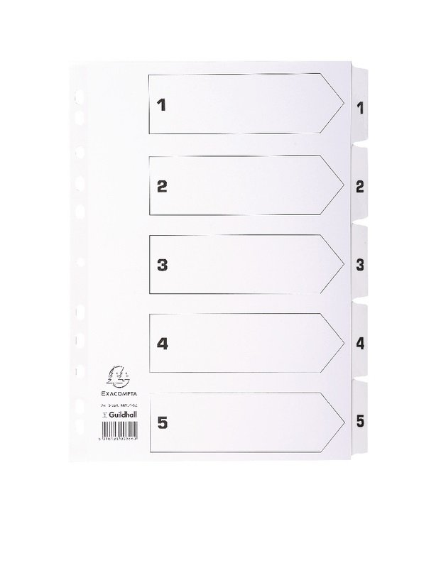Image of Guildall Mylar 1-5 A4 White Index MWD1-5Z