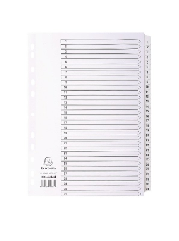 Guildall Mylar 1-31 A4 White Index