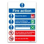 Safety Sign Fire Action Symbols A4 PVC (1 Pack)