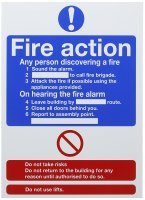 Safety Sign Fire Action Words A4 Self Adhesive (Pack of 1)