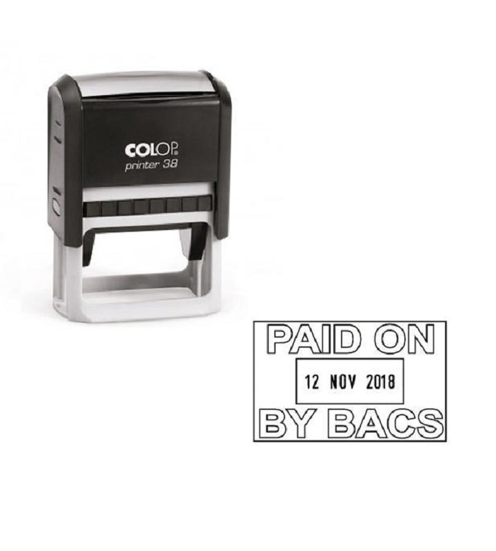 Colop Printer 38 Date Stamp Paid By Bacs