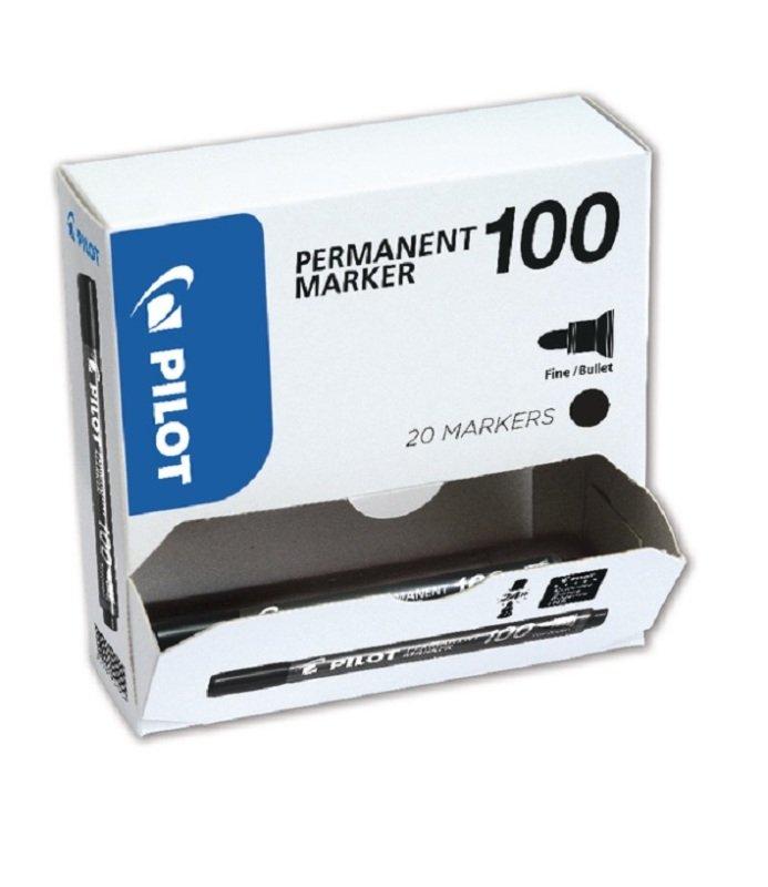 Pilot 100 Permanent Marker Black Bullet Tip (20 Pack)