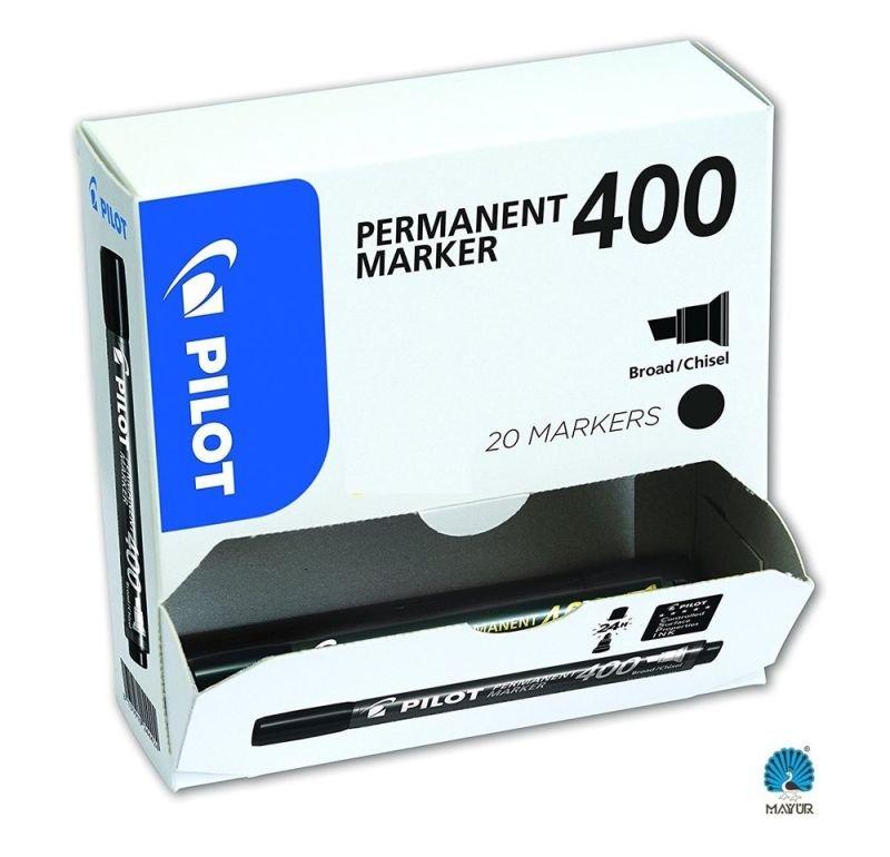 Pilot 400 Permanent Black Chisel Tip Marker 3131910504061