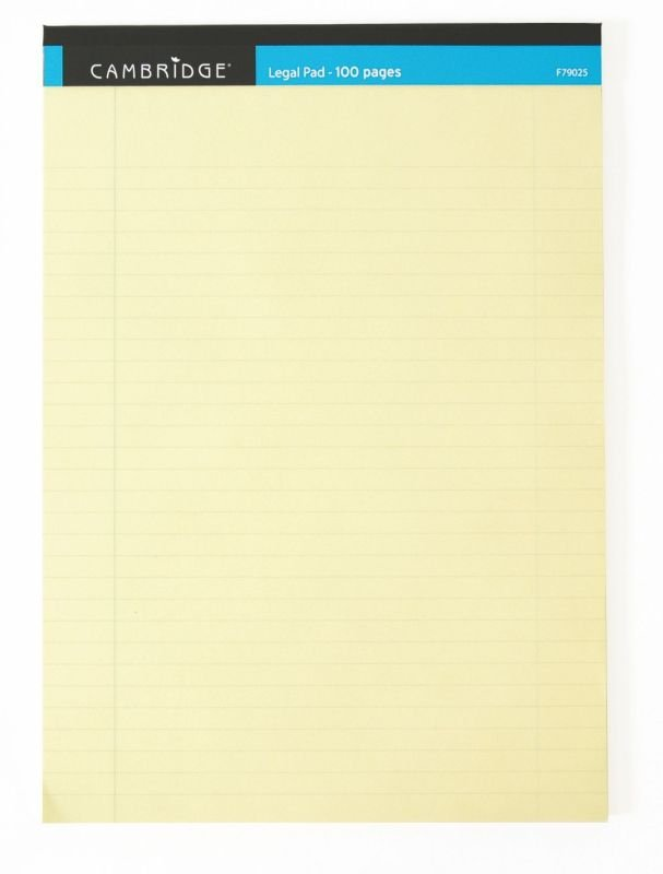 Image of Cambridge Everyday A4 Yellow Legal Pad 100 Pages Ruled Margin (Pack of 10)