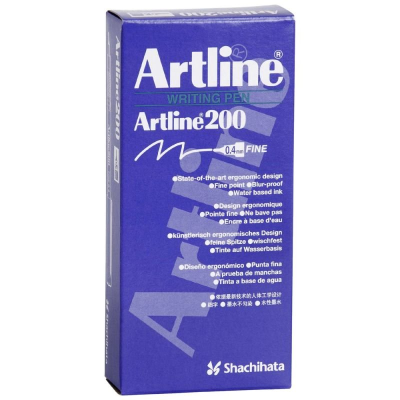 Artline 200 Fineliner Black (Pack of 12) A2001