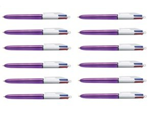 Bic 4 Colour Shine Purple Body (12 Pack)