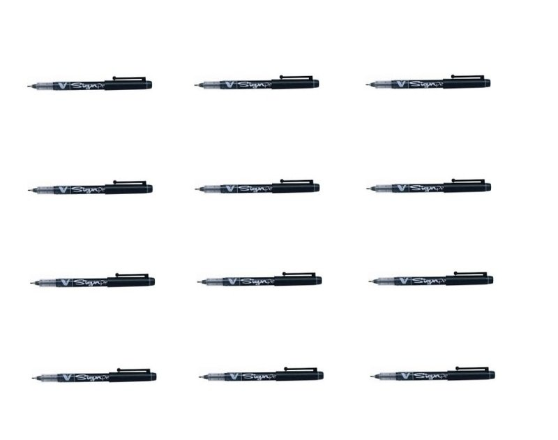 Pilot Black V-Sign Pens (Pack of 12)