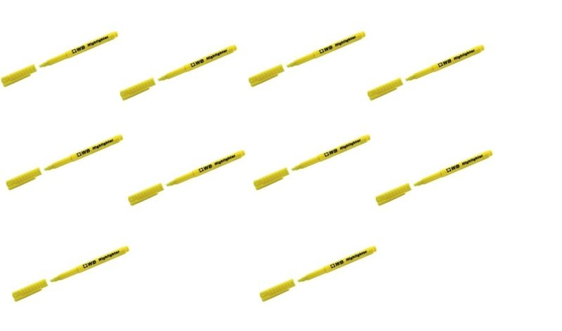 Yellow Highlighter Pens (Pack of 10)